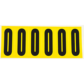Beaverswood Yellow Self-Adhesive Numbers and Letters 38mm x 90mm (Pack of 6)