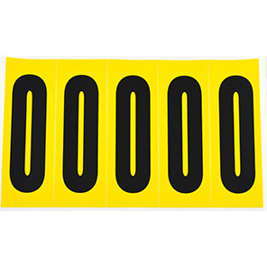 Beaverswood Yellow Self-Adhesive Numbers and Letters 45mm x 130mm (Pack of 5)