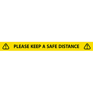 """Yellow """"Please Keep A Safe Distance"""" Social Distancing Tape"""