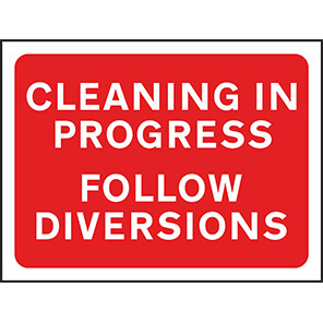 """Spectrum Industrial Red """"Cleaning in Progress Follow Diversions"""" Sign 600mm"""