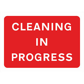 """Spectrum Industrial Red """"Cleaning in Progress"""" Sign 750mm x 1050mm"""