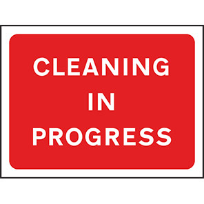 """Spectrum Industrial Red """"Cleaning in Progress"""" Sign 450mm x 600mm"""