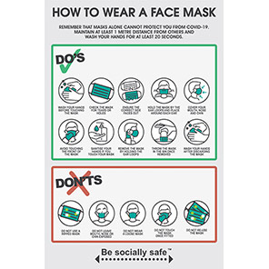 """Be Socially Safe """"How to Wear A Face Mask"""" Poster"""