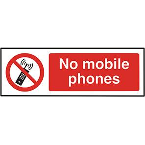 """Spectrum Industrial """"No Mobile Phones"""" Sign 200mm x 600mm"""