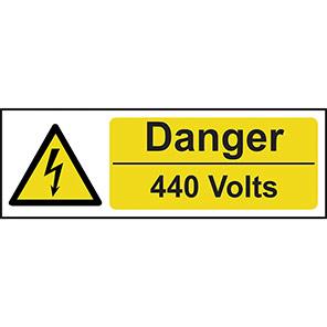"Spectrum Industrial ""Danger 440 Volts"" Sign 100mm x 300mm"