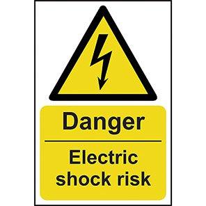 "Spectrum Industrial ""Danger Electric Shock Risk"" Sign 200mm x 300mm"