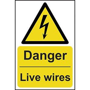 """Spectrum Industrial """"Danger Live Wires"""" Sign"""