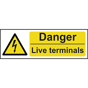 """Spectrum Industrial """"Danger Live Terminals"""" Sign 100mm x 300mm"""