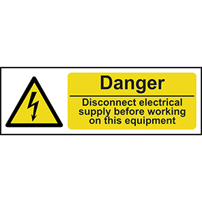 """Spectrum Industrial """"Danger Disconnect Electrical Supply"""" Sign 100mm x 300mm"""