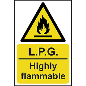 """Spectrum Industrial Self-Adhesive """"LPG Highly Flammable"""" Sign 200mm x 300mm"""