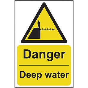 """Spectrum Industrial """"Danger Deep Water"""" Sign"""