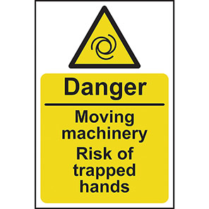 Danger Moving Machinery Risk Of Trapped Hands Signs