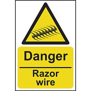 """Spectrum Industrial """"Danger Razor Wire"""" Sign"""