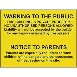 Spectrum Industrial Warning To Public/Notice to Parents Warning Sign