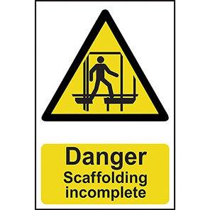Danger Scaffolding Incomplete Hazard Signs
