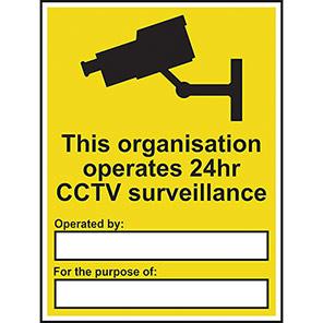"Spectrum Industrial Vinyl ""Organisation Operates 24hr CCTV"" Sign 300mm x 400mm"