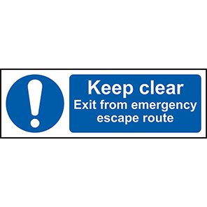 """Spectrum Industrial """"Keep Clear/Emergency Escape Route"""" Sign"""