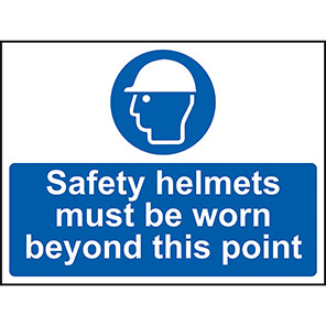Safety Helmets Must Be Worn (Point) Sign