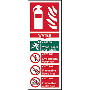 EN3 Fire Extinguisher Colour Code Water Sign