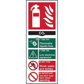 EN3 Fire Extinguisher Colour Code CO2 Sign