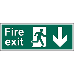 Fire Exit Down Signs With Arrow