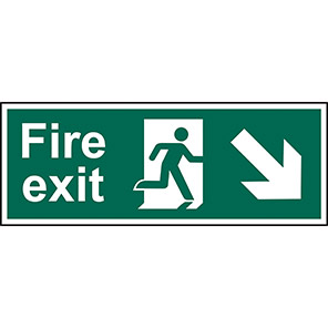 """Spectrum Industrial """"Fire Exit"""" Down/Right Arrow Sign"""