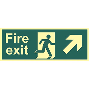 """Spectrum Industrial """"Fire Exit"""" Up/Right Arrow Sign"""