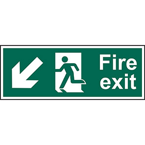 "Spectrum Industrial ""Fire Exit"" Down/Left Arrow Sign"