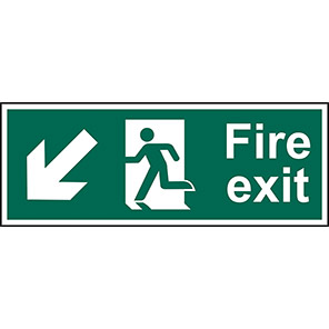 "Spectrum Industrial ""Fire Exit"" Down/Left Arrow Sign 600mm x 200mm"