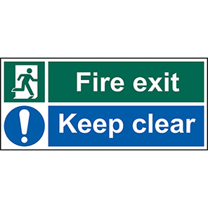 """Spectrum Industrial PVC """"Fire Exit Keep Clear"""" Sign 200mm x 600mm"""