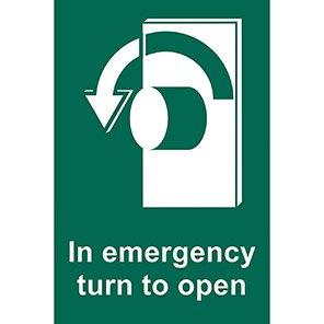 "Spectrum Industrial ""In Emergency Turn To Open"" Left Sign"