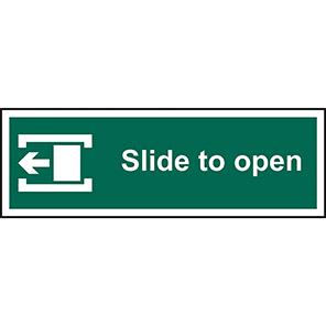 """Spectrum Industrial """"Slide To Open"""" Left Door Sign 100mm x 300mm"""