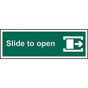 """Spectrum Industrial """"Slide To Open"""" Right Door Sign 100mm x 300mm"""