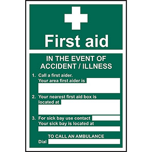 Safe Condition In The Event Of An Accident First Aid Signs
