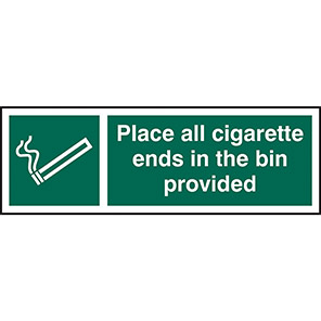 Place All Cigarette Ends In The Bin Provided Signs