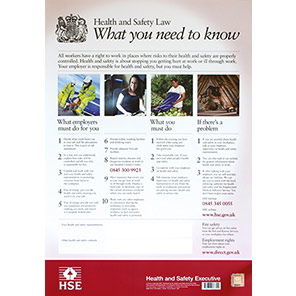 Spectrum Industrial England Health and Safety Law 2009 Poster