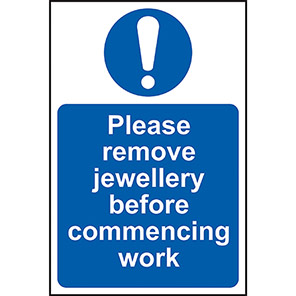 "Spectrum Industrial"" Please Remove Jewellery..."" Hygiene Sign"