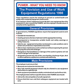 Spectrum Industrial Provision and Use of Work Equipment Regulations 1998 Poster