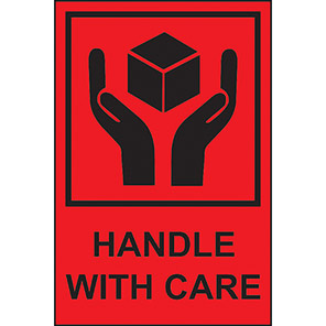 """Spectrum Industrial """"Handle With Care"""" Labels (Roll of 1000)"""