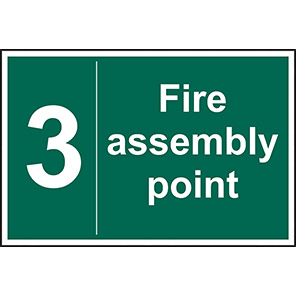 """Spectrum Industrial """"3 Fire Assembly Point"""" Sign 200mm x 300mm"""