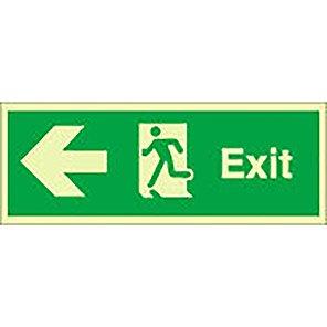 "Spectrum Industrial Photoluminescent ""Fire Exit"" Left Running Man Sign"
