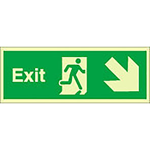 """Spectrum Industrial Photoluminescent """"Exit"""" Down/Right Fire Exit Sign"""