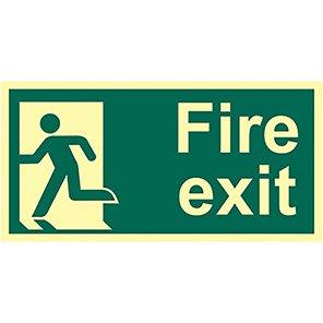 "Spectrum Industrial ""Fire Exit"" Left Running Man Sign 150mm x 300mm"