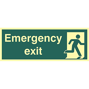 Emergency Fire Exit Right Sign