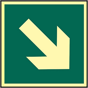 Spectrum Industrial Photoluminescent Down/Right Arrow Fire Exit Sign