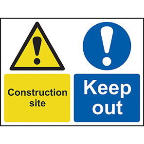 """Spectrum Industrial """"Construction Site Keep Out"""" Sign 450mm x 600mm"""