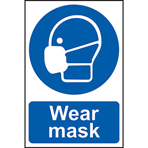 """Spectrum Industrial Self-Adhesive PVC """"Wear Mask"""" Sign 200mm x 300mm"""