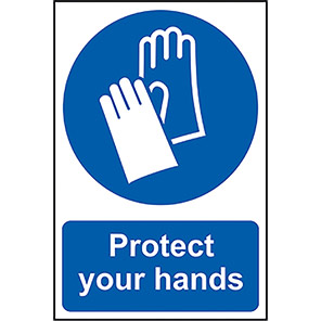 """Spectrum Industrial Self-Adhesive PVC """"Protect Your Hands"""" Sign"""