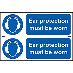 """Spectrum Industrial """"Ear Protection Must Be Worn"""" Sign (Pack of 2)"""