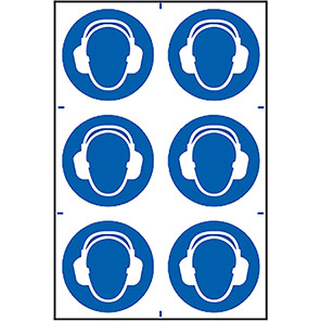 Spectrum Industrial Ear Protection Symbol Sign (Pack of 6)